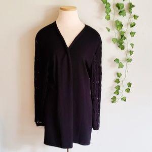 Maurices Black Knit Sleeve Cardigan XXL